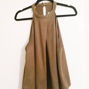 Olive Halter Tank Top with Keyhole Back